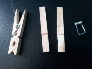 Clothespins, assembled and not
