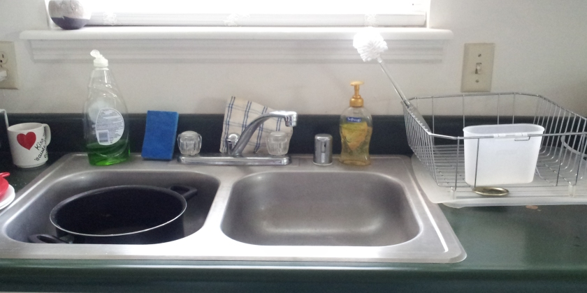 Sink with workflow from left to right: Wash, rinse, and dry.